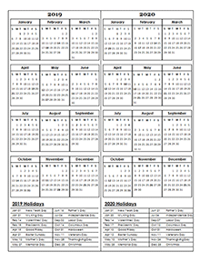 2019 and 2020 calendar template (2 year)
