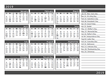 12-Month One Page Calendar Template for 2019