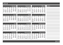 2019 12 months calendar template