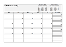 2019 Blank Three Month Calendar