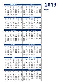 2019 blank calendar half page