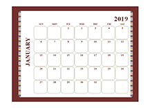 2019 Blank Calendar Large boxes Template