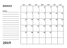 2019 calendar template with monthly notes