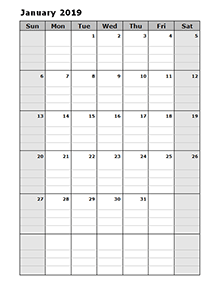 Calendrier Planning 2019.Printable 2019 Blank Calendar Templates