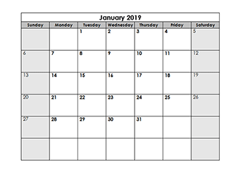 Blank Calendar 2019 Template Free Printable Blank Monthly Calendars