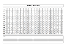 2019 calendar year at a glance template
