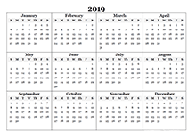 2019 blank yearly calendar template