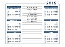 2019 calendar Template 6 months on one page