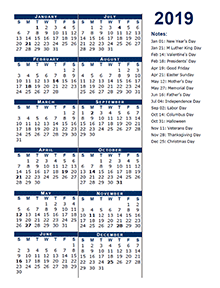 2019 Full Year Calendar Template Half Page