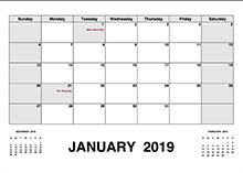 2019 calendar with holidays pdf