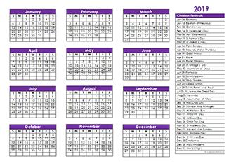 2019 Christian Festivals Calendar Template