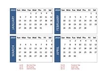 2019 four-month Singapore calendar template