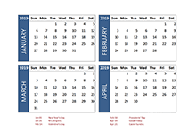 2019 four-month UK calendar template