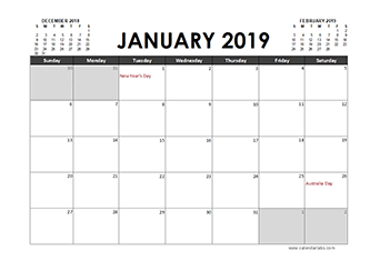Printable 2019 Calendar Templates With Australia Holidays