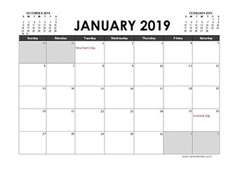 2019 Calendar Planner Australia holidays