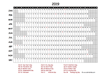 2019 project timeline calendar template for Canada