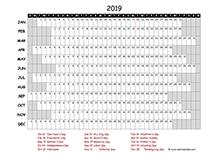 2019 project timeline calendar template for Hong Kong