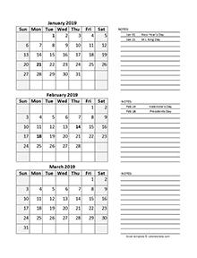 2019 Quarterly Calendar Spreadsheet
