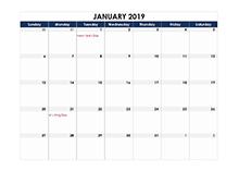 2019 calendar Canada spreadsheet template