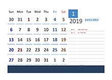 2019 UK Calendar Vacation Tracking