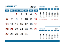 2019 Monthly Calendar with Hong Kong Holidays