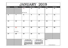 2019 Excel Calendar in Cell
