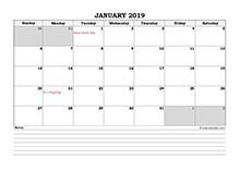 2019 Singapore calendar with notes