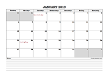 2019 Excel Calendar Download Free Printable Excel Templates