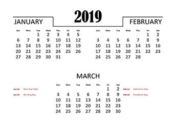 2019 Quarterly Calendar for Singapore