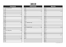 Editable 2019 Excel Three Month Calendar