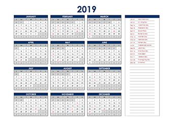 Yearly 2019 Calendar with Hong Kong public holidays