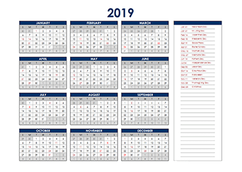 Yearly 2019 Calendar with Canada public holidays