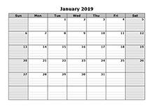 2019 Blank Monthly Calendar Free Printable Templates