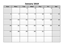 2019 Free Blank Calendar