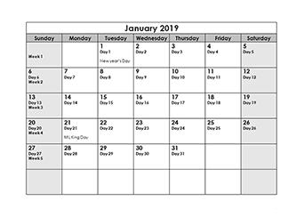 2019 Julian Calendar