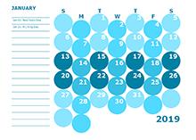 2019 colorful kindergarten calendar template