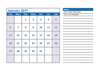 2019 monthly calendar with us holidays