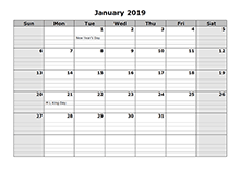 2019 Monthly Calendar with Daily Notes