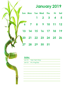 2019 Monthly Calendar Template Green Design