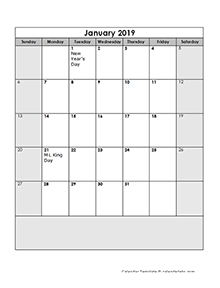 2019 Calendar Template Large Boxes