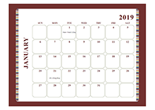 2019 Monthly Calendar Template Large Boxes