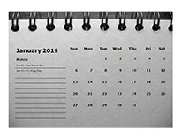 2019 Monthly Calendar Template Room for Notes