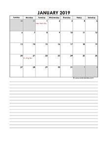 Singapore calendar for 2019 portrait