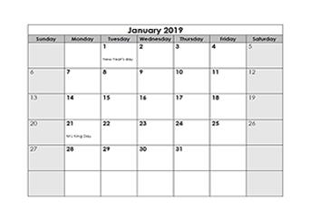2018 monthly LibreOffice calendar Template