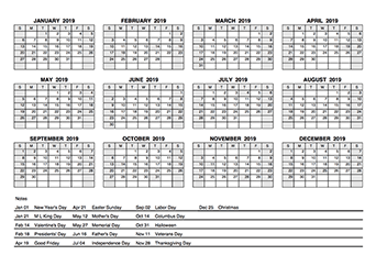 2019 pdf yearly calendar with holidays