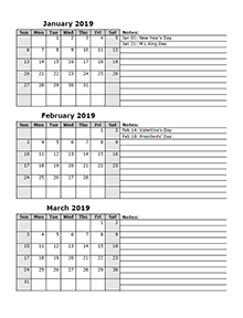 2019 three month calendar template