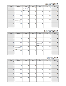 2019 Quarterly calendar with US holidays