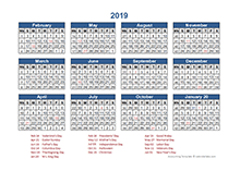 4-4-5 Retail Accounting calendar 2019