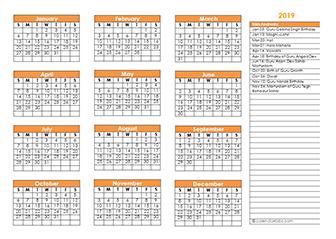 Sikh calendar template 2019