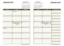 2019 Two Page Monthly Calendar A3